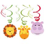 6 Swirl Decorations Jungle Animals Foil / Paper 45 cm / 60 c