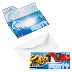 8 Invitations & Envelopes Transformers RID Paper 8 x 14.1 cm