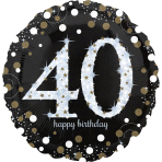 "Jumbo ""Sparkling Birthday 40"" Foil Balloon, P40, packed, 71 x 71cm"