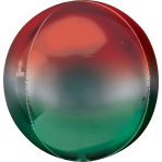 Orbz Ombré Red & Green Foil Balloon, G20 packaged