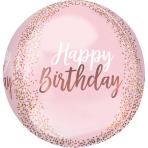 Orbz Rose Gold Blush Birthday Foil Balloon G20 packaged