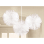 3 Fluffy Decorations Wedding Decorations White Tulle 30.4 cm
