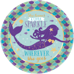 8 Plates Mermaid Wishes Paper Round Metallic 17.7 cm