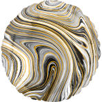 Standard Marblez Black Circle Foil Balloon S18 Packaged