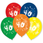 10 Latex Balloons Number 40 25.4 cm/10''