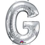 SuperShape Letter G Silver Foil Balloon L34 Packaged 63cm x 81cm