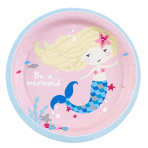 8 Plates Be a Mermaid Paper Round 17.7 cm