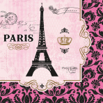 16 Lunch Napkins A Day In Paris 33 cm