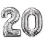 Mid Size Number Bunch 20 Silver Foil Balloon P56 Packaged