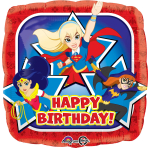 "Standard ""DC Super Hero Girls Happy Birthday"" Foil Balloon Square, S60, packed, 43 cm"