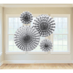 4 Fan Decorations Glitter Silver Paper 20.3 cm / 30.4 cm / 40.6 cm