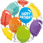 Standard Birthday Celebration Foil Balloon circle S40 packaged