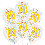 "6 Latex Balloons Droplets 70 Confetti Birthday 1C Confetti Filled Paper 27.5 cm / 11"""