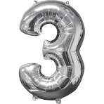 Mid Size Number 3 Silver Foil Balloon L26 Packaged 43cm x 66cm