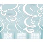 12 Swirl Decorations Frosty White Foil 55.8 cm