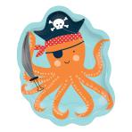 8 Plates Octopus Shaped Ahoy Birthday Paper 17.7 x 22.22 cm