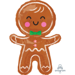"""SuperShape """"Happy Gingerbread Man"""" Foil Balloon P30 packed 55 x 78cm"""