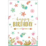 Tablecover Boho Birthday Girl Paper 137 x 259 cm