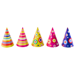 Party Cone Hats Dots & Stripes Assorted Paper Height 16 cm