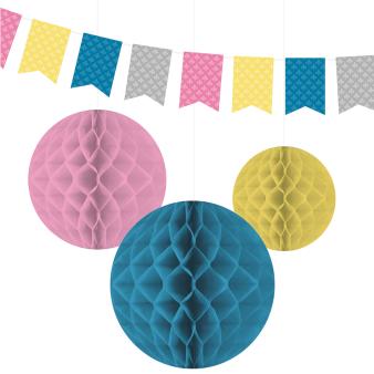 Decoration Kit (1 Flag Banner and 3 Honeycombs) Princess & Knight