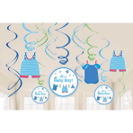 12 Swirl Decorations Shower With Love - Boy Foil / Paper 61 cm