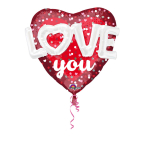 "Mulit-Balloon ""Love Hearts & Dots"" Foil Balloon, P75, packed, 91 x 91cm"