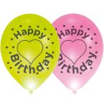 """4 Latex Balloons LED Happy Birthday Heart 27.5 cm / 11"""""""