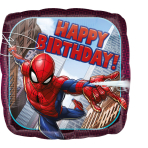 """Standard """"Spider-Man Happy Birthday"""" Foil Balloon Square , S60, packed,"""