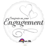 """Standard """"Two Hearts Engagement"""" Foil Balloon, S40, packaged"""