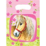 6 Party Bags Charming Horses Plastic 23.4 x 16.2 cm