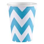 8 Cups Caribbean Blue Chevron Paper 266 ml