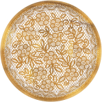 8 Plates Delicate Lace round  metallic paper 17,7cm