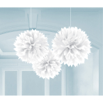 3 Fluffy Decorations Frosty White Paper 40.6 cm