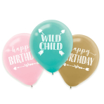 6 Latex Balloons Boho Birthday Girl 27,5cm/11""