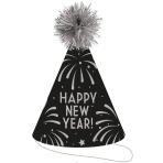 """Cone Hat with Tinsel Pom Pom Glitter """"Happy New Year"""" Paper / Foil Height 23,5 cm"""