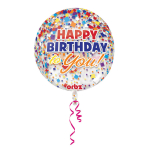 Orbz Happy Birthday Clear Confetti Foil Balloon G20 Packaged38 x 40 cm