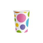 8 Cups Rainbow Dots Paper 250 ml