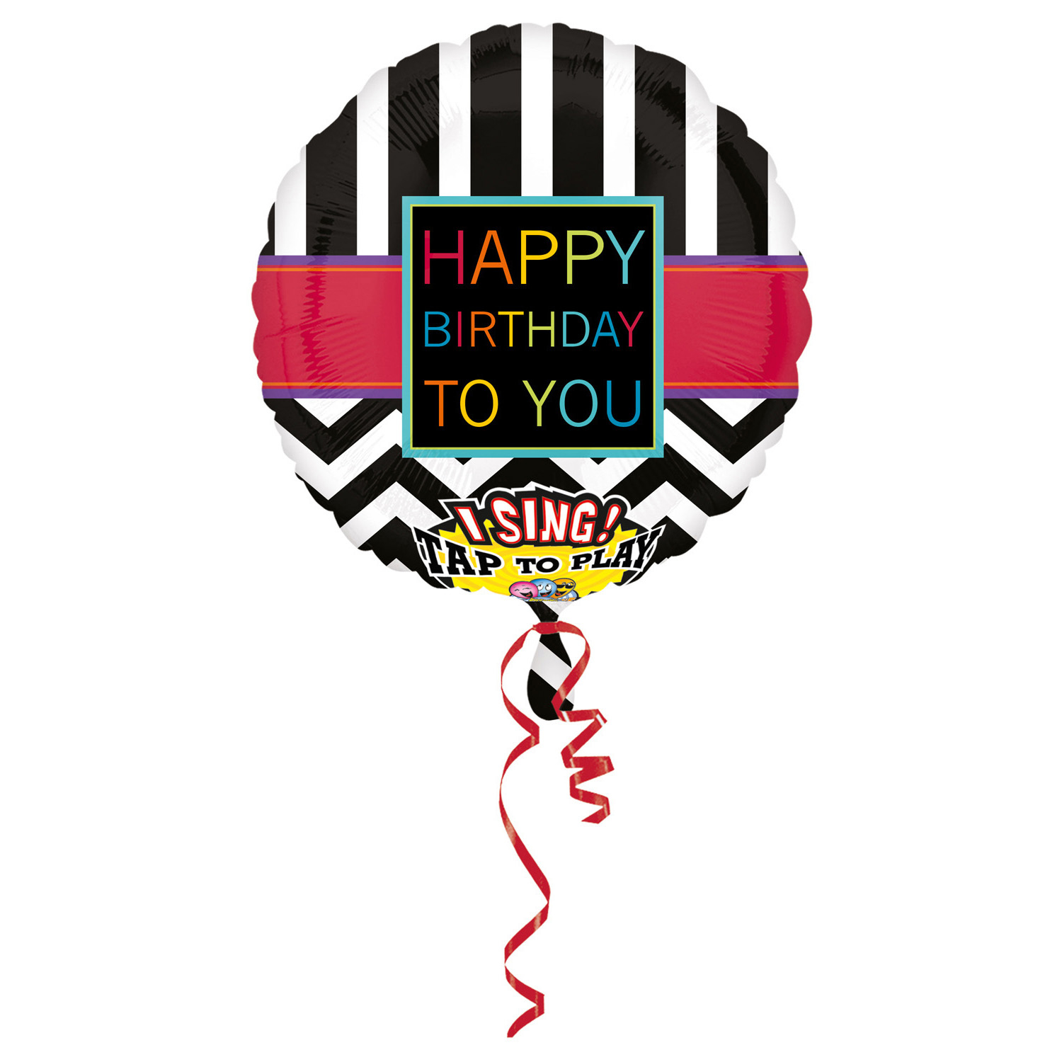 Sing A Tune Chevron Happy Birthday To You Foil Balloon P60 Packaged 71 X 71 Cm Amscan Europe