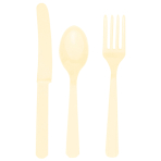 Cutlery Vanilla Creme Plastic (8 Knives, 8 Spoons, 8 Forks) 17.1 cm / 14.7 cm / 15.7 cm