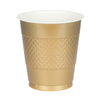 10 Cups Gold Plastic 355 ml