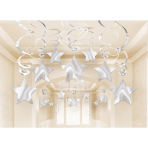 30 Swirl Decorations Shooting Stars Silver Foil 61 cm