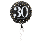 Standard Sparkling Birthday 30 Foil Balloon Round S55 Packaged 43 cm