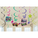 12 Swirl Decorations Totally 80's Foil / Paper 61 cm