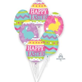 "Bouquet ""Easter Egg Hunt"" 6 Foil Balloons, P75, packed"