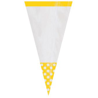10 Party Bags Cone Shaped Polka Dot Sunshine Yellow Plastic 27.2 x 8.8 cm