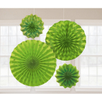 4 Fan Decorations Glitter Kiwi Green Paper 20.3 cm / 30.4 cm / 40.6 cm