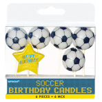 6 Mini Character Candles Championship Soccer Height 7.6 cm