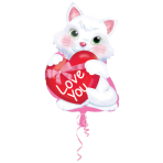Junior Shape Kity with Heart Foil Balloon S50 packaged