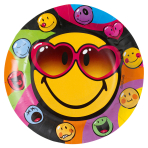 8 Plates Smiley Express Yourself Paper Round 22.8 cm