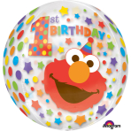 "Orbz ""Sesame Street 1st Birthday"" Foil Balloon Clear, G40, packed, 38 x 40cm"